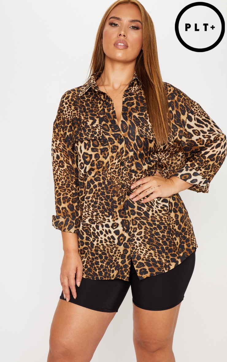 Plus Brown Leopard Print Pocket Detail Oversized Shirt 1