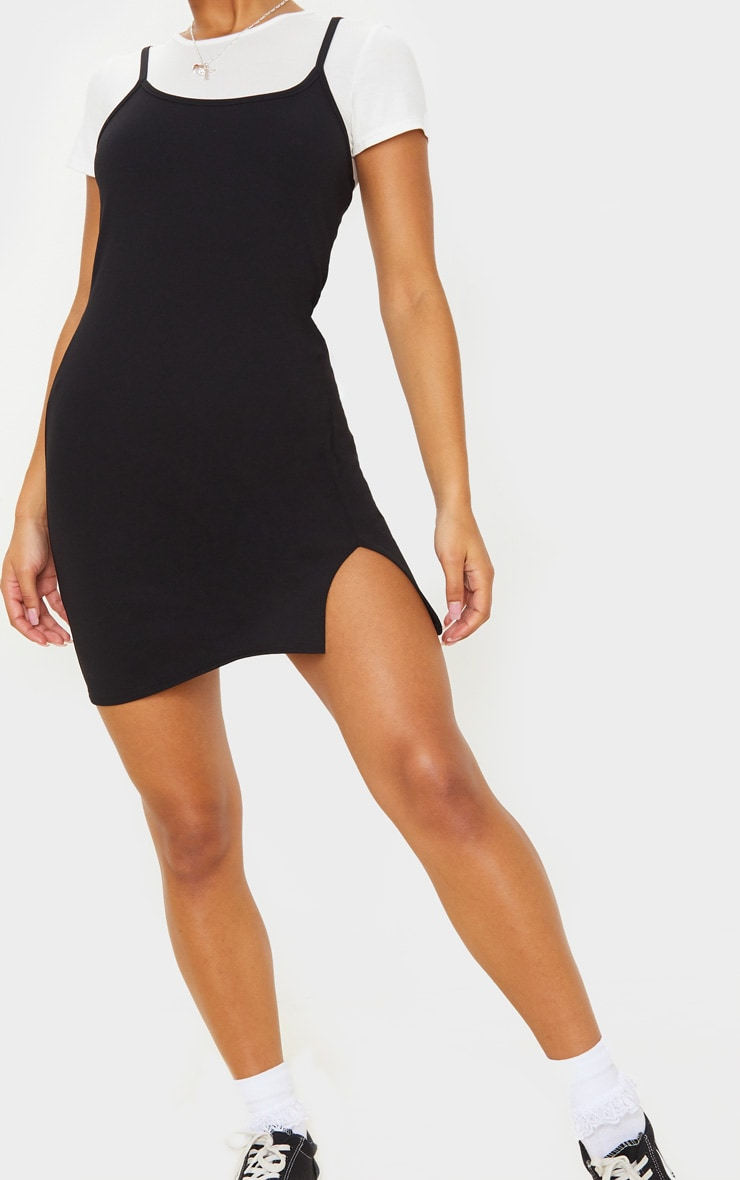 Black 2 In 1 Strappy Split Front Shift Dress 5