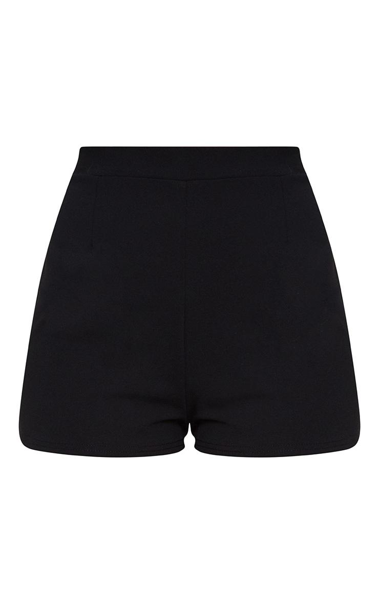 Black Curve Hem Shorts 3