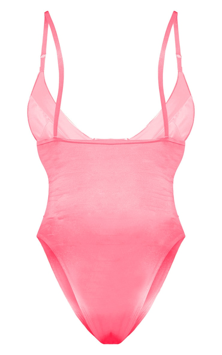 Pink Stretch Satin Cup Bodysuit 4