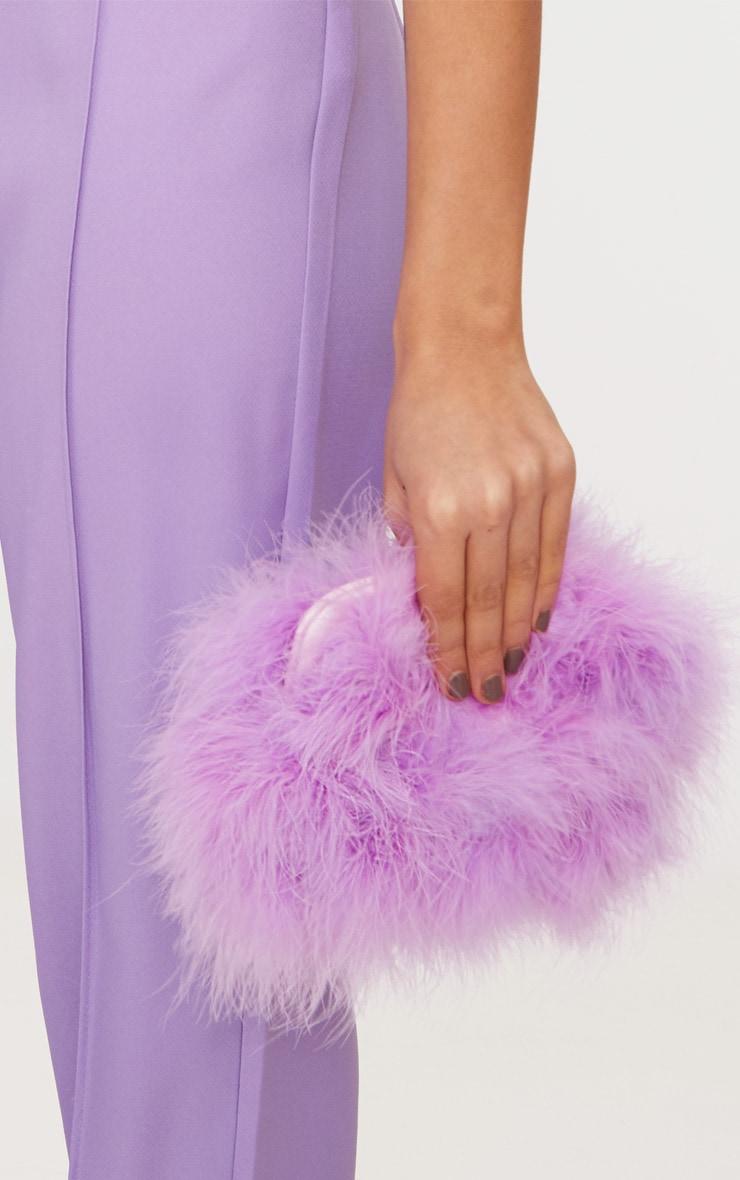Lilac Marabou Feather Clutch Bag 2