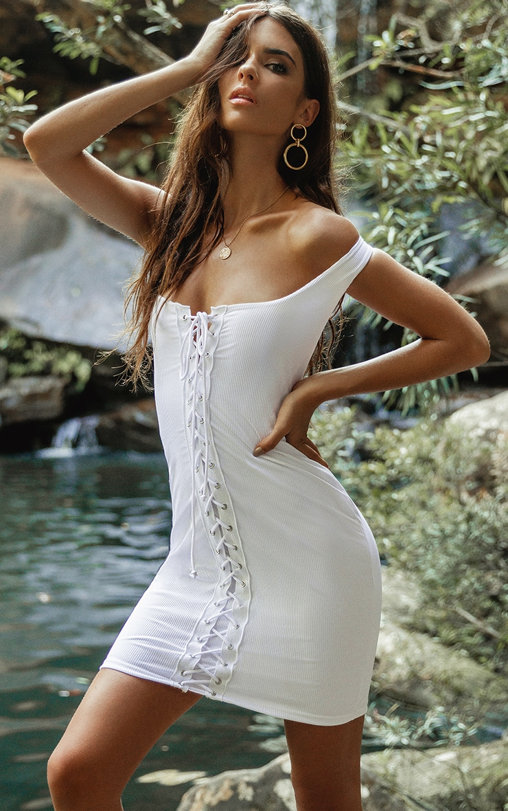 White Ribbed Tie Front Bodycon Dress 1