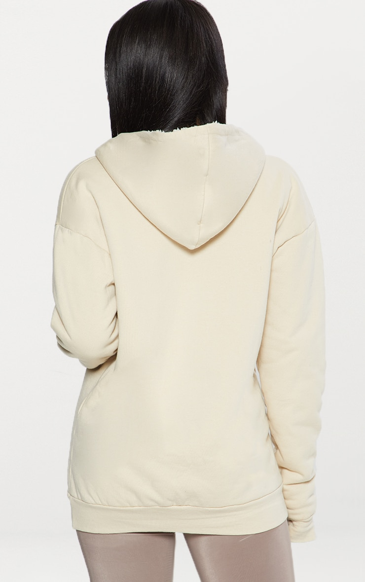 Cream Oversized Borg Lined Zip Up Hoodie 3
