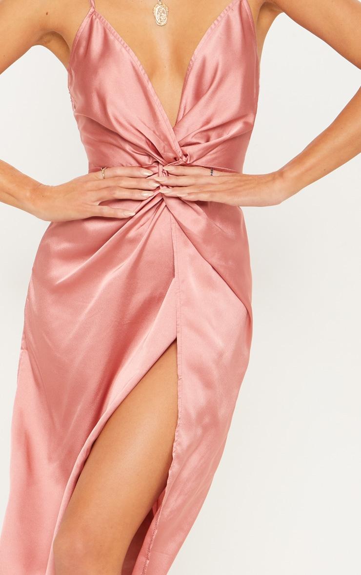 Rose Satin Twist Detail Midi Dress 5
