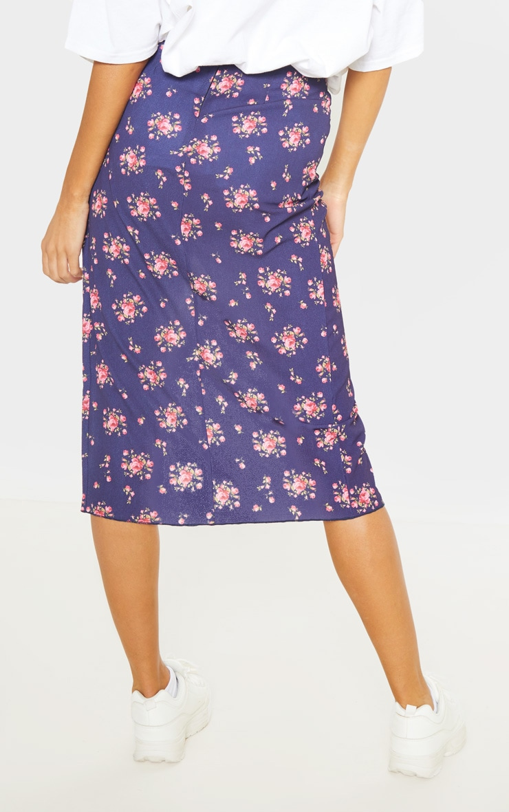 Tall Navy Ditsy Floral Wrap Pencil Skirt 4