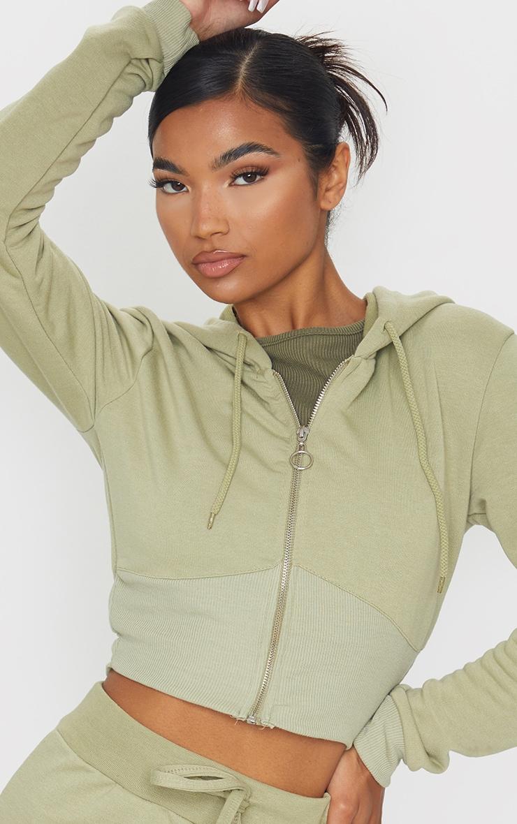 Sage Green Zip Up Bustier Hoodie 4