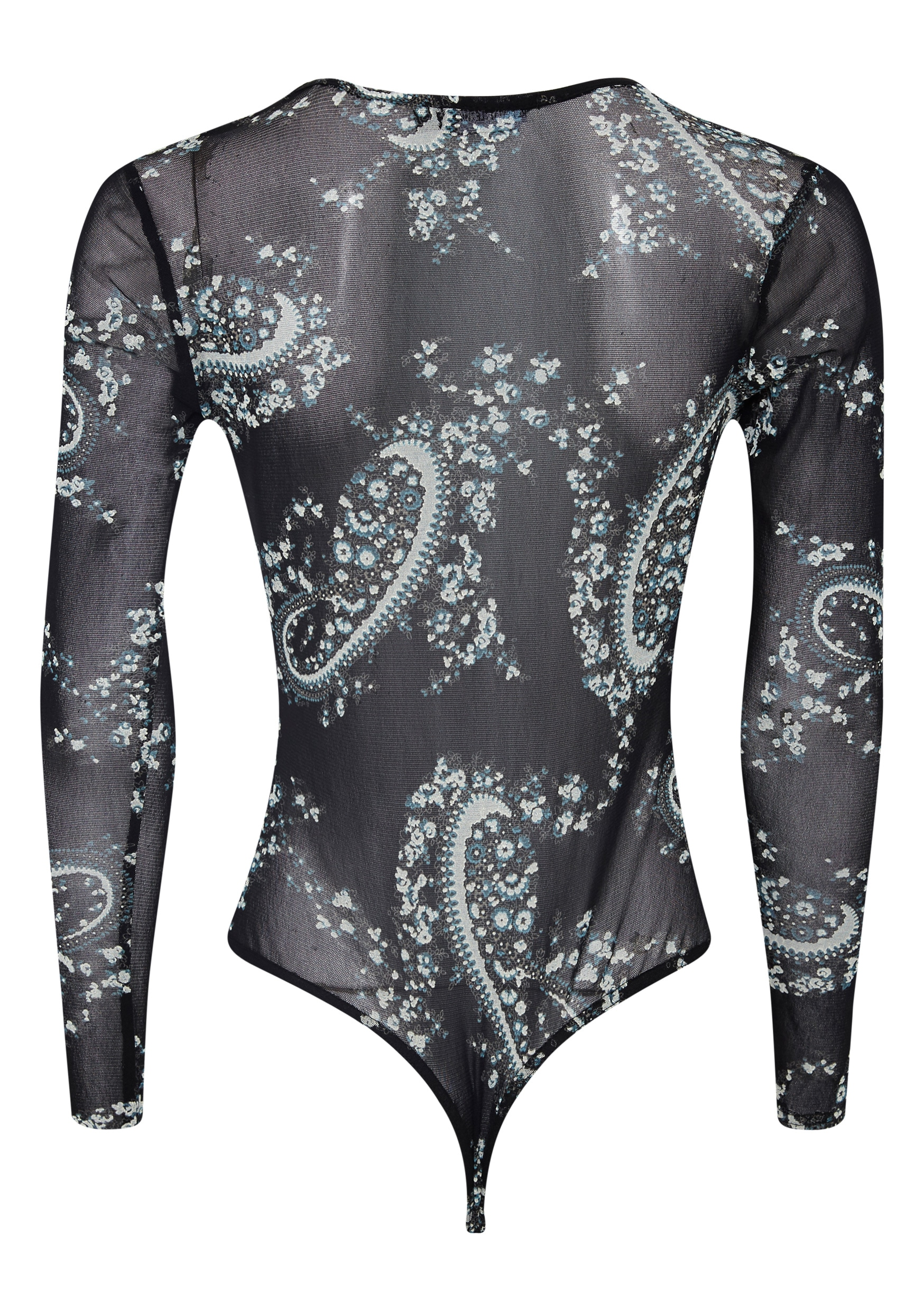 Kimmy Black Paisley Mesh Long Sleeve Bodysuit 4