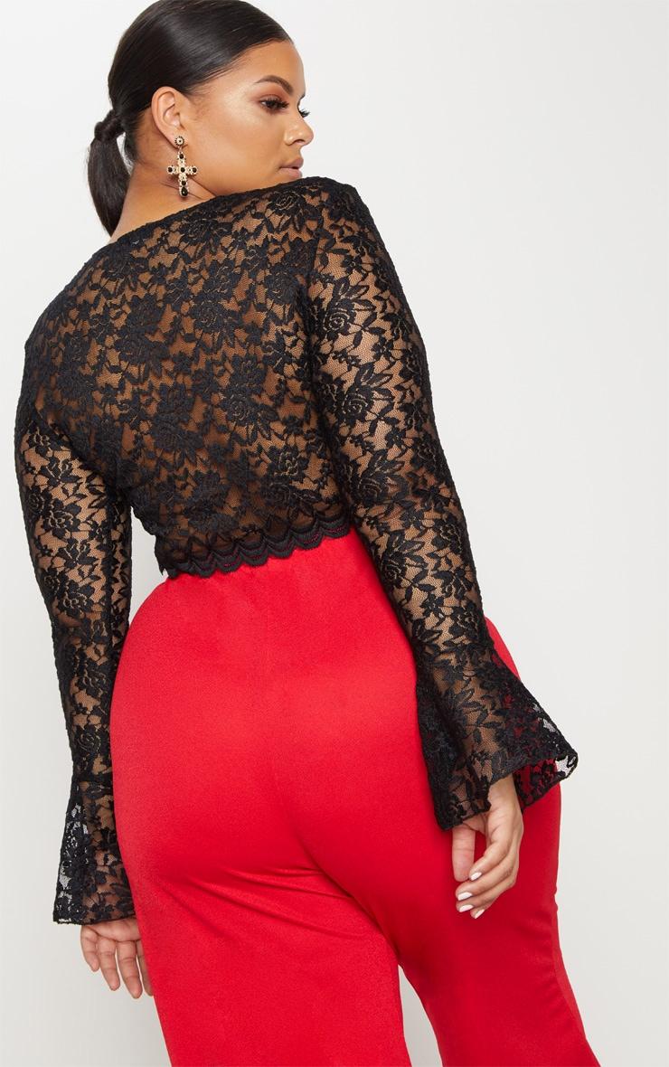 Plus Black Sheer Lace Crop Top 2