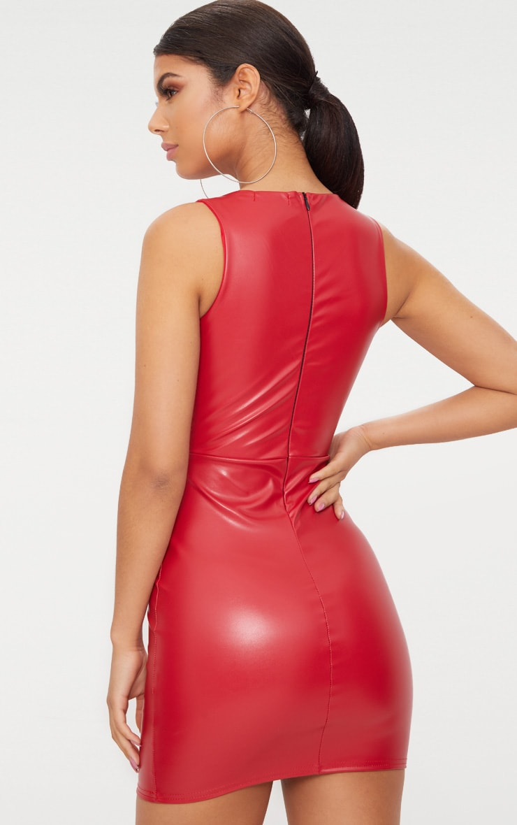Red PU Plunge Bodycon Dress 2