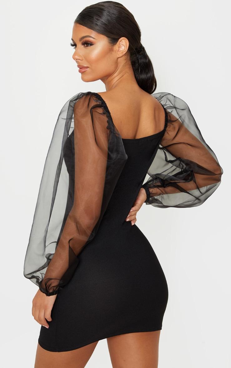 Black Organza Sleeve Cup Detail Bodycon Dress 2