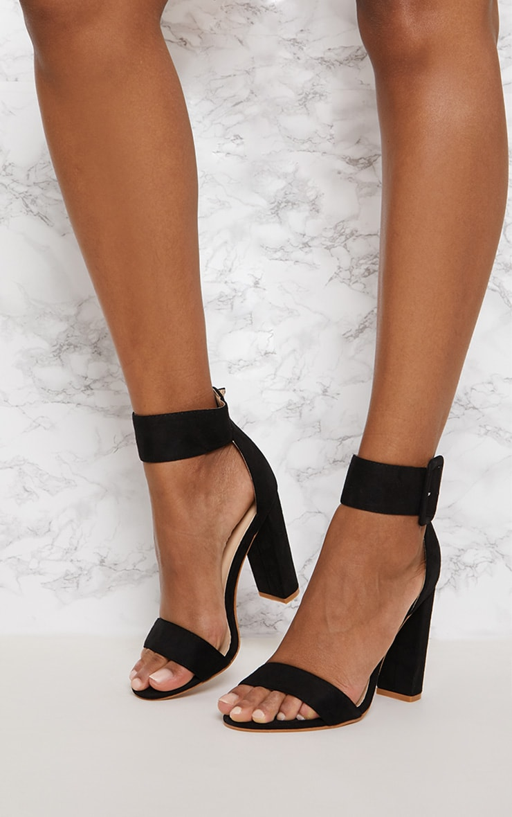 Black Ankle Buckle Block Heel  2