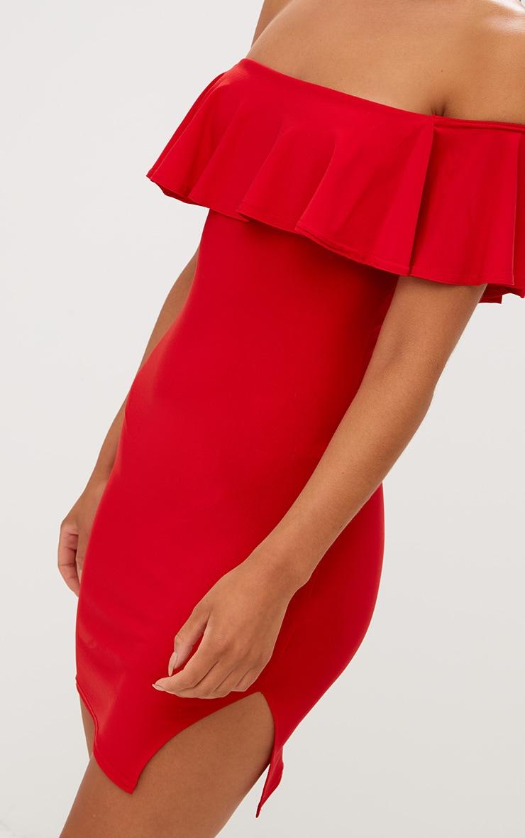 Red Bardot Frill Split Side Bodycon Dress 4