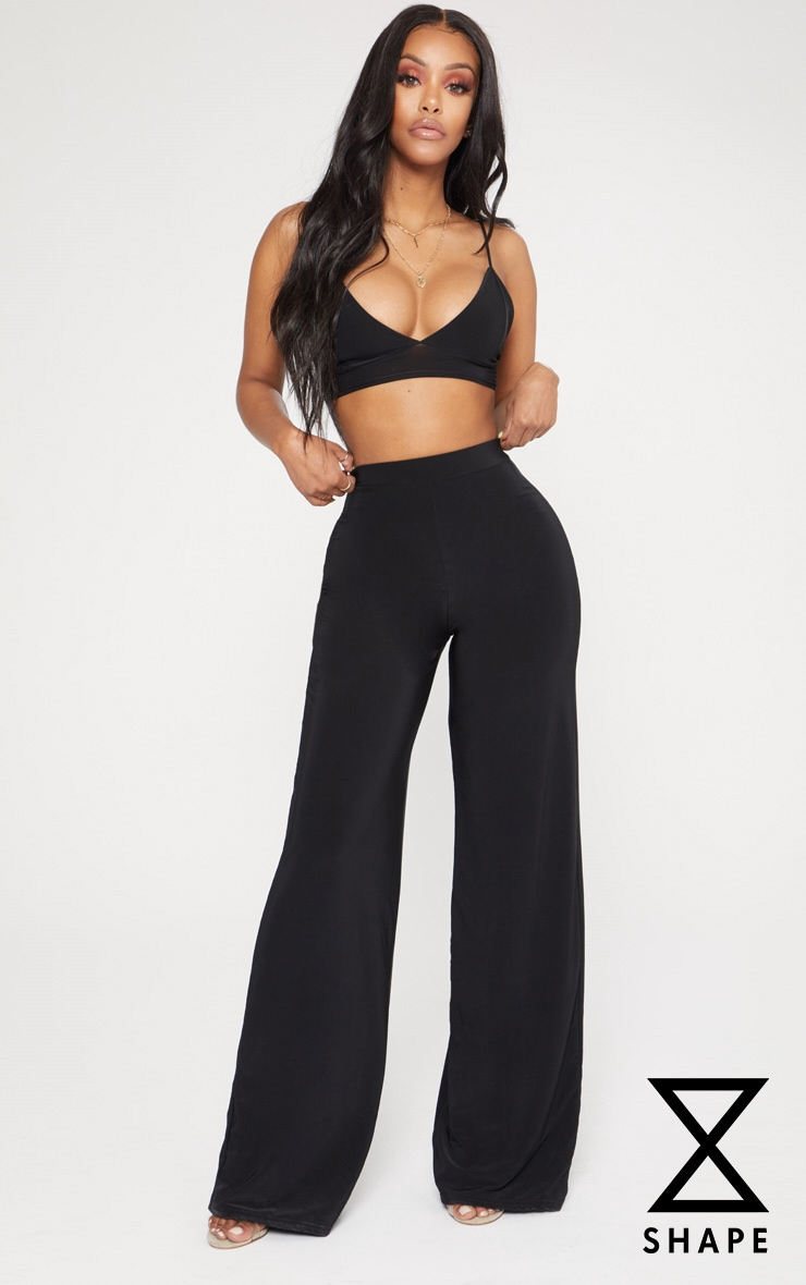 Shape Black Slinky High Waisted Wide Leg Trousers 1