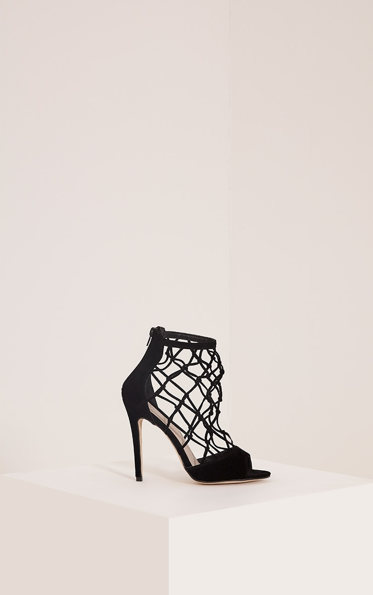 Yasmin Black Net Detail Heeled Sandals 3