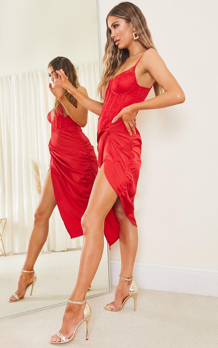 Red Strappy Lace Insert Satin Gathered Midi Dress 3