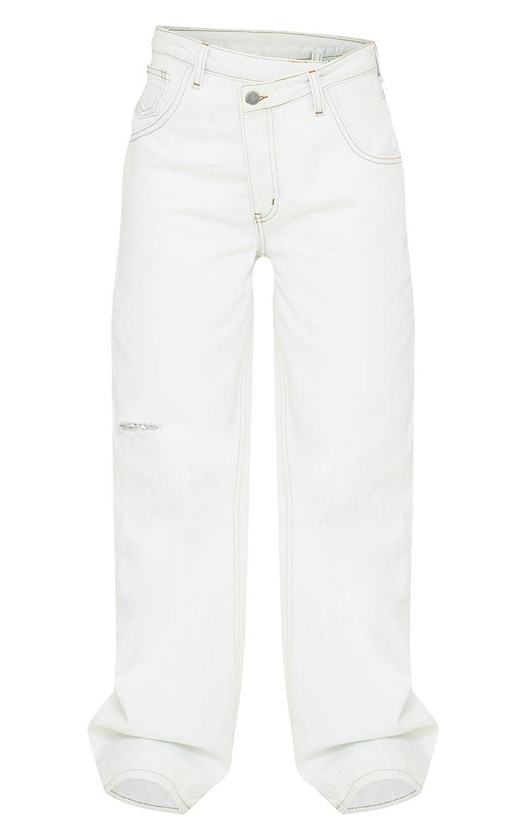 Bleach Wash Asymmetric Waist Wide Leg Jeans 5