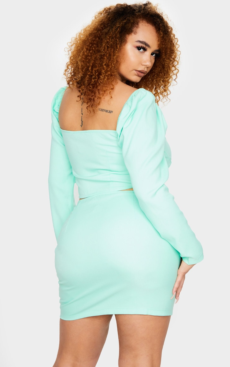 Plus Mint Puff Long Sleeve Bust Cup Corset 2
