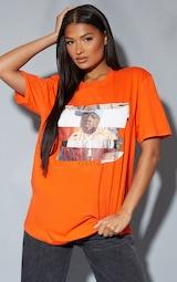 Orange Biggie Print Oversized T Shirt 1