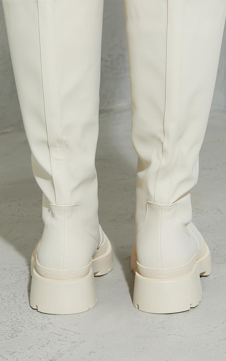 Cream Knee High Rubberised Boots 4