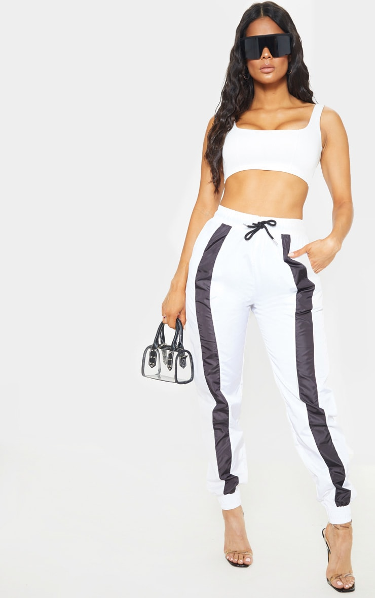 White Contrast Front Panel Shell Jogger 1