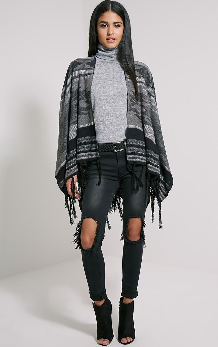 Deni Grey Tribal Knitted Tassel Poncho 3