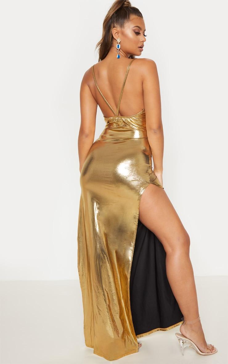 Gold Metallic Cowl Neck Maxi Dress 3