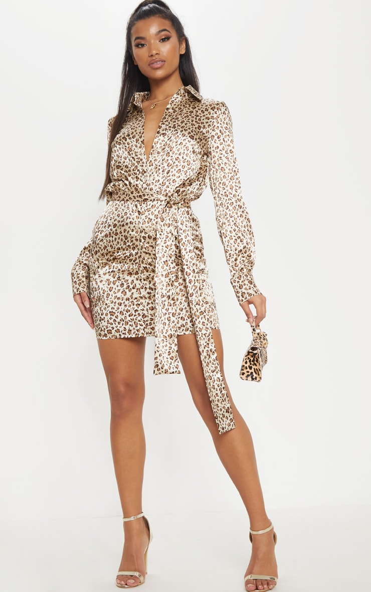 Nude Satin Leopard Print Ruched Shirt Dress 4