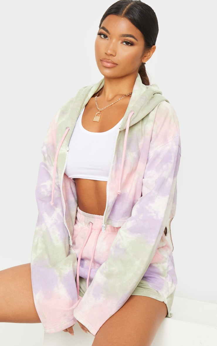 Sage Green Multi Tie Dye Zip Through Cropped Hoodie 2