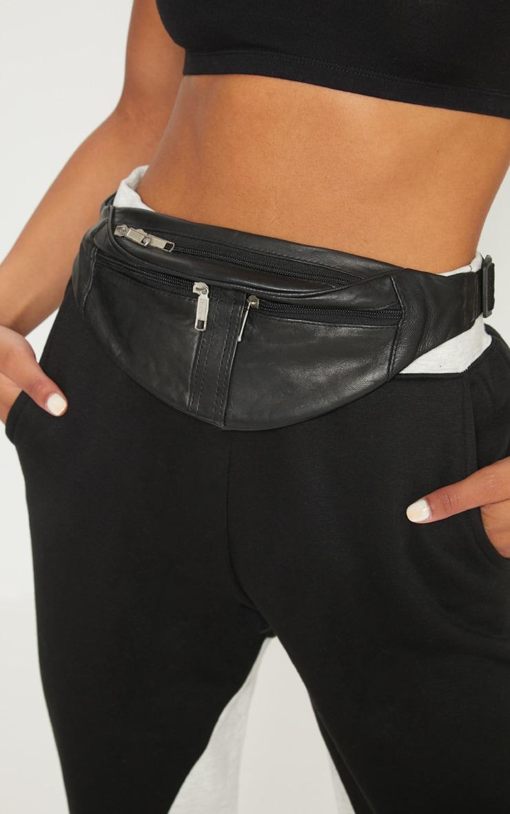 Black Leather Double Zip Bum Bag 2
