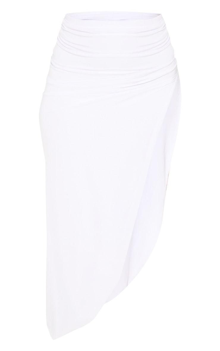 White Ruched Side Split Midaxi Skirt 3