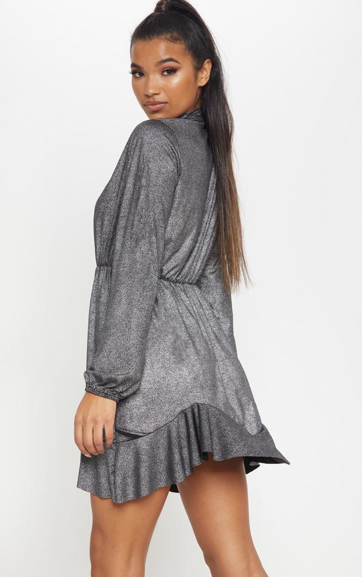 Silver Metallic High Neck Frill Hem Shift Dress 2