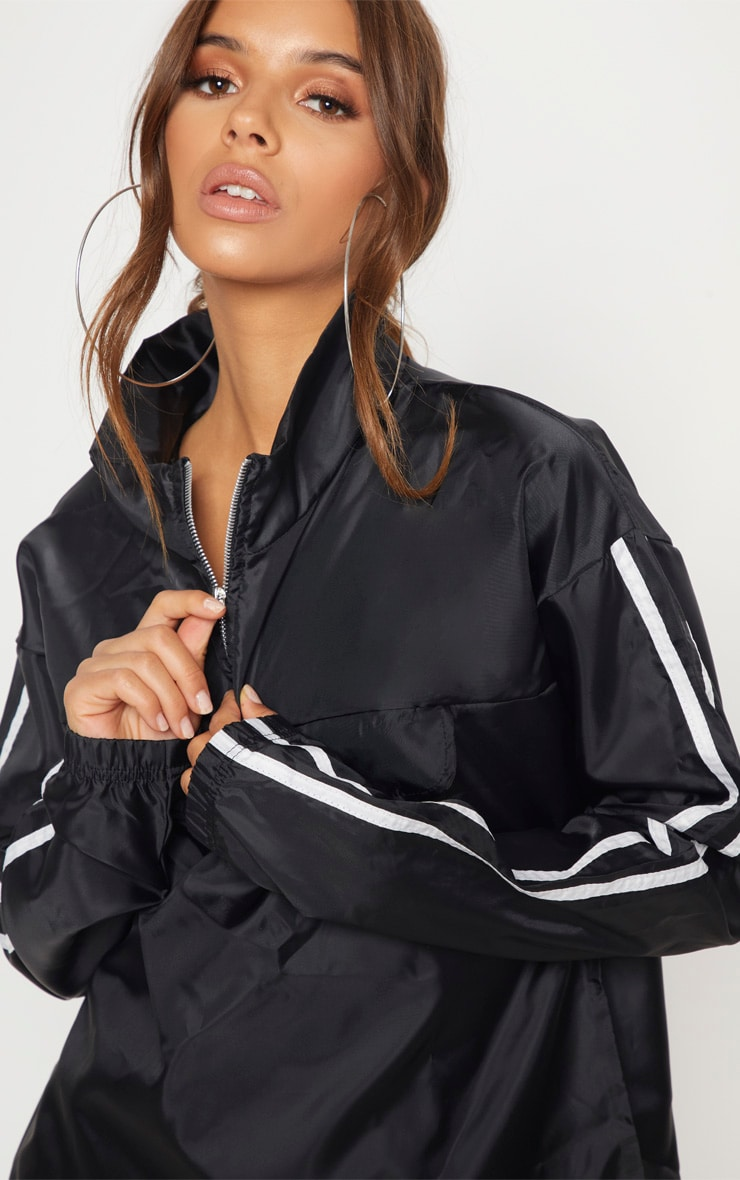 Black Contrast Sport Stripe Zip Up Shell Top 5