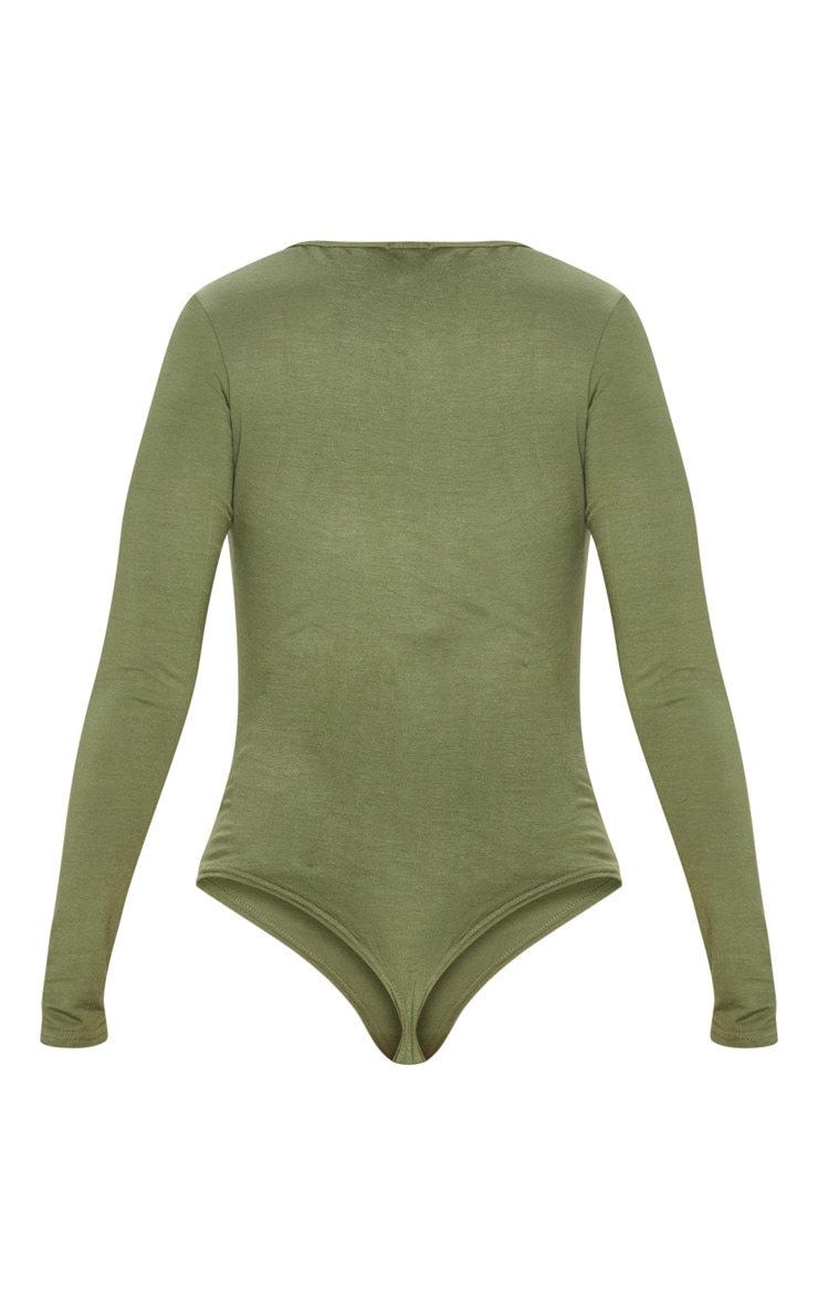 Basic Khaki V Neck Long Sleeve Bodysuit 4