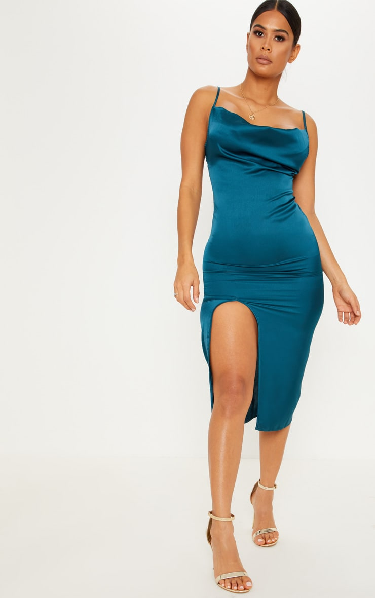Emerald Green Strappy Satin Cowl Midi Dress