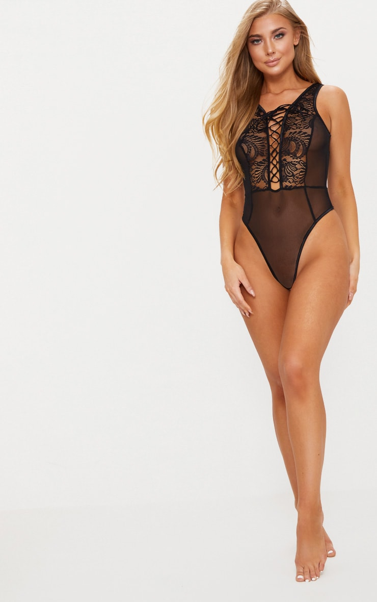 Black Lace Up Lace Middle Mesh Body 5