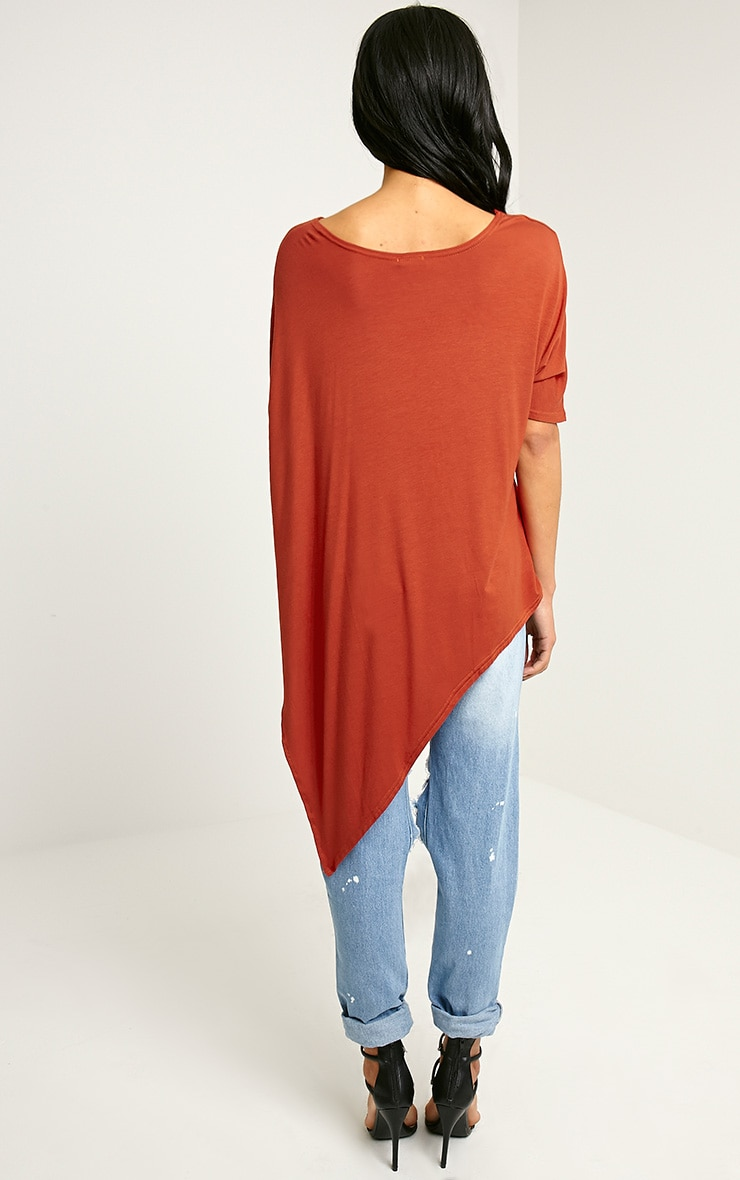 Basic Rust Asymmetric T Shirt 2