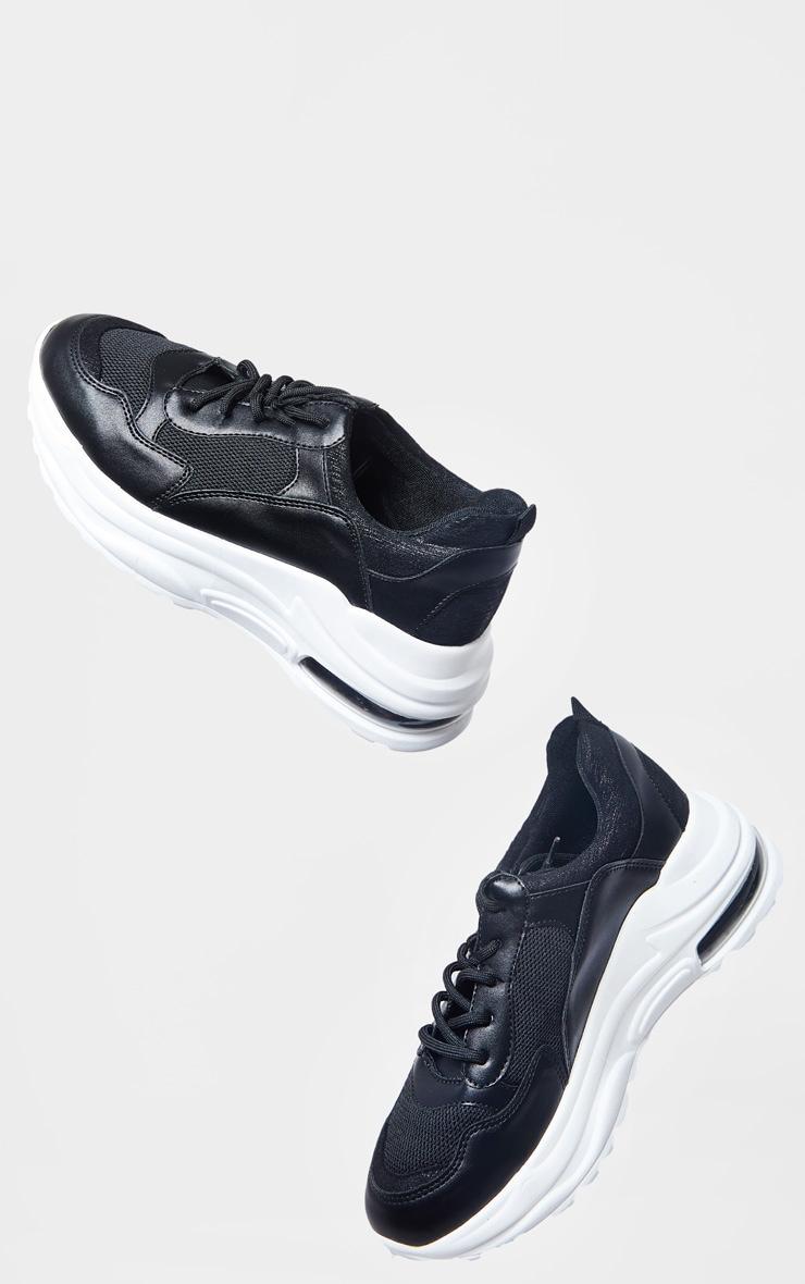 Black Bubble Panel Sole Lace Up Sneaker 2