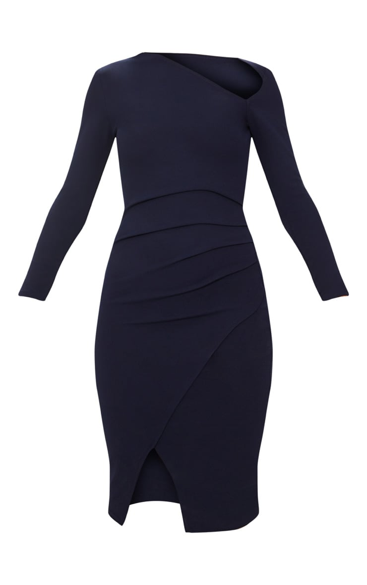 Navy Asymmetric Neck Pleated Wrap Midi Dress 3