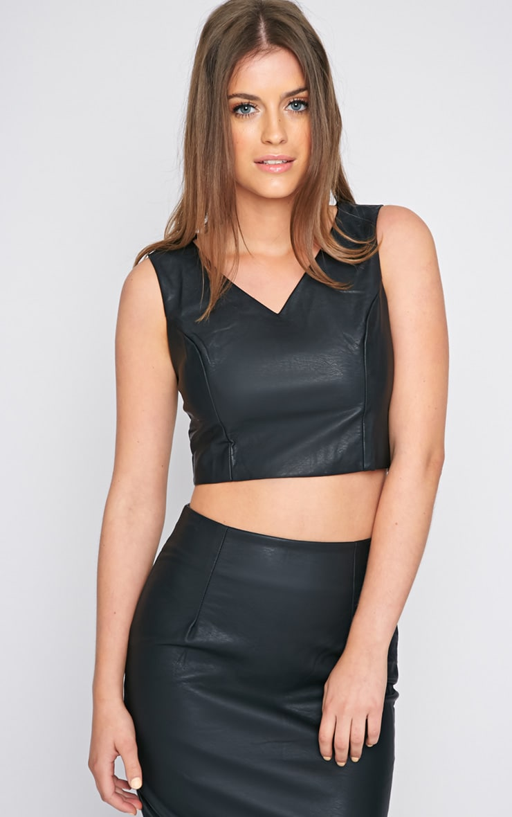 Shary Black Leather Crop  1