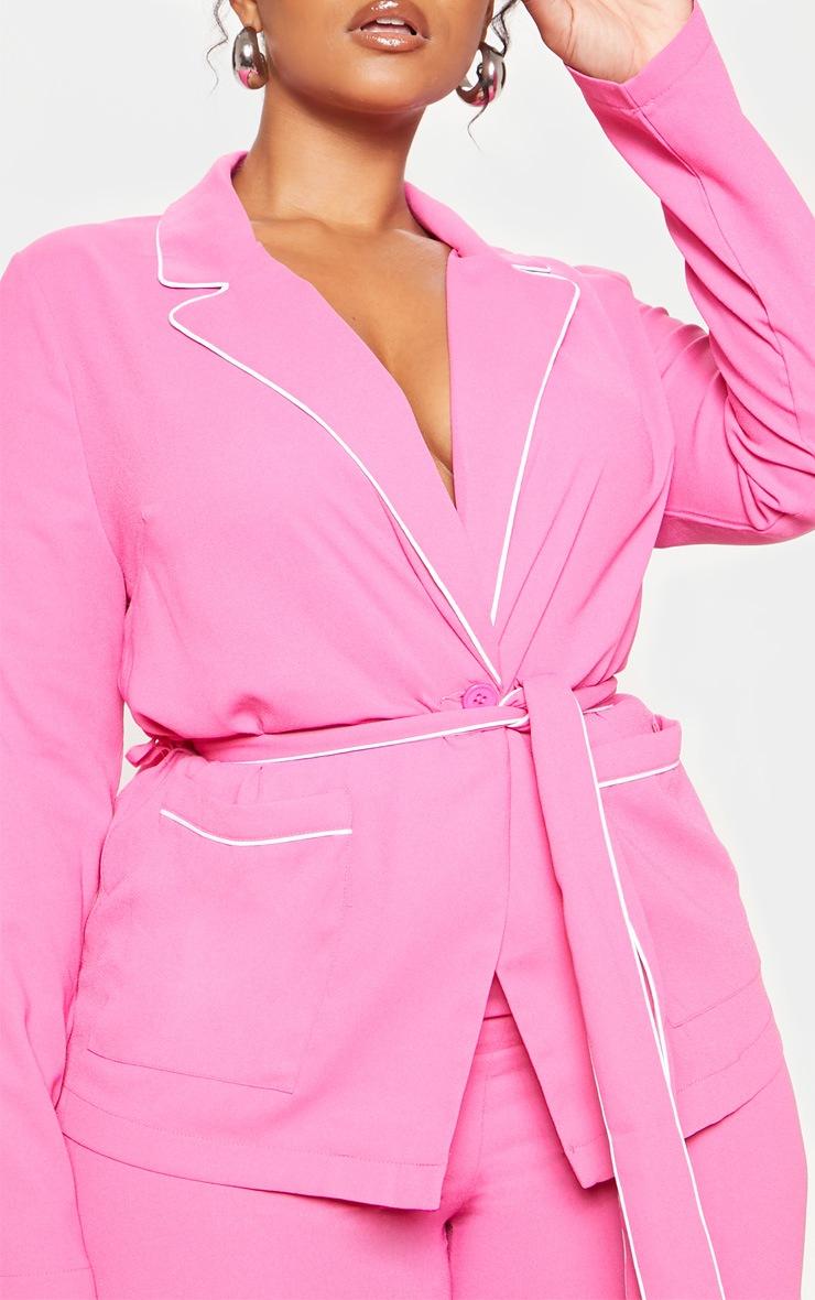 Plus Bright Pink Contrast Detail Blazer 5