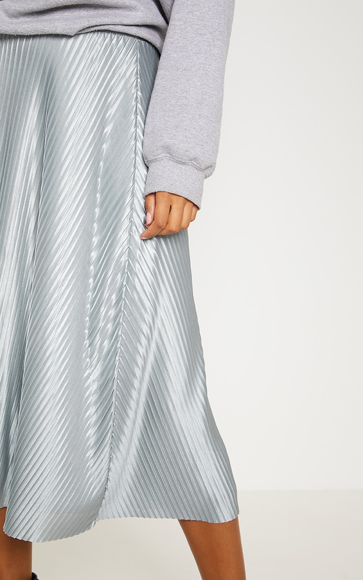 Silver Grey Pleated Full Midi Skirt 5