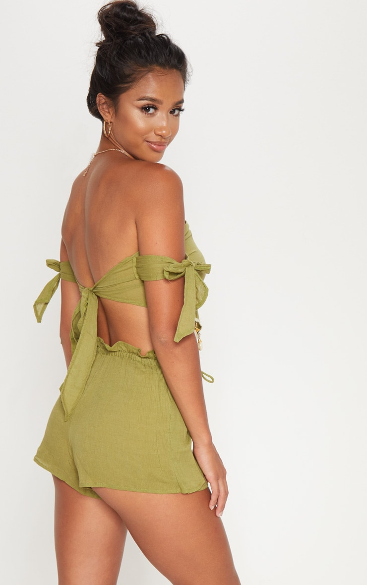 Petite Olive Cheesecloth Shell Trim Crop Top 2