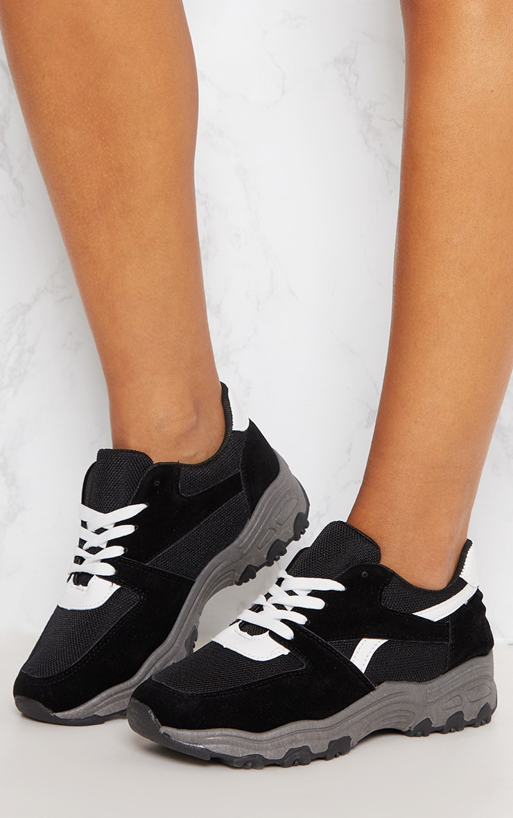 Black Lace Up Chunky Trainer 2