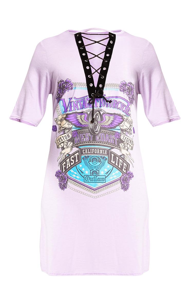 Fast Life Lilac Lace Up T Shirt Dress 3