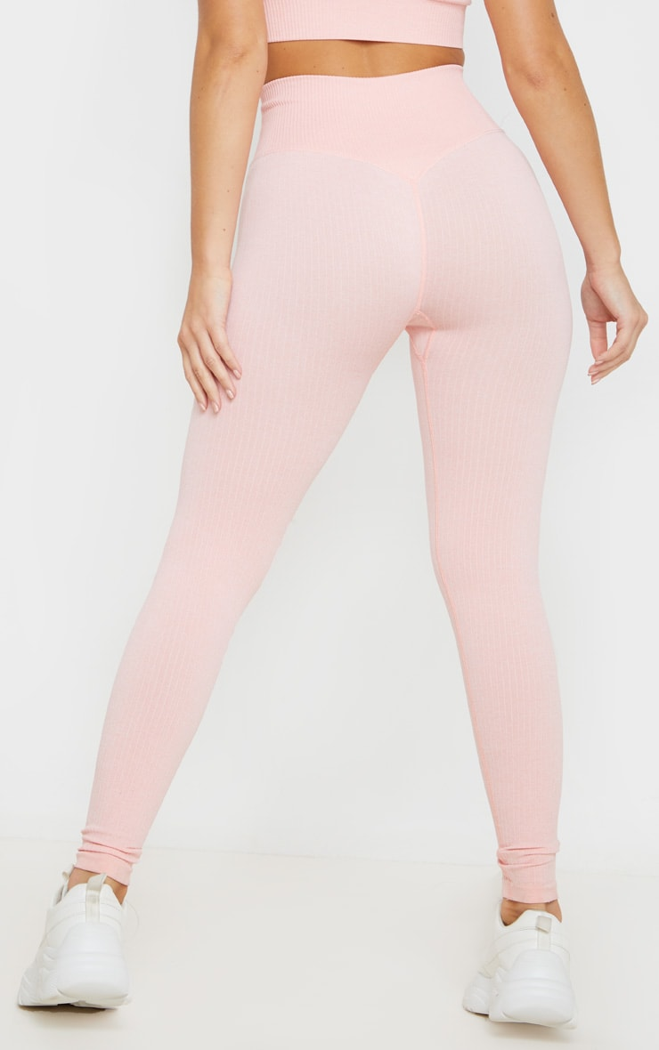 Peach Ribbed Sports Legging 4