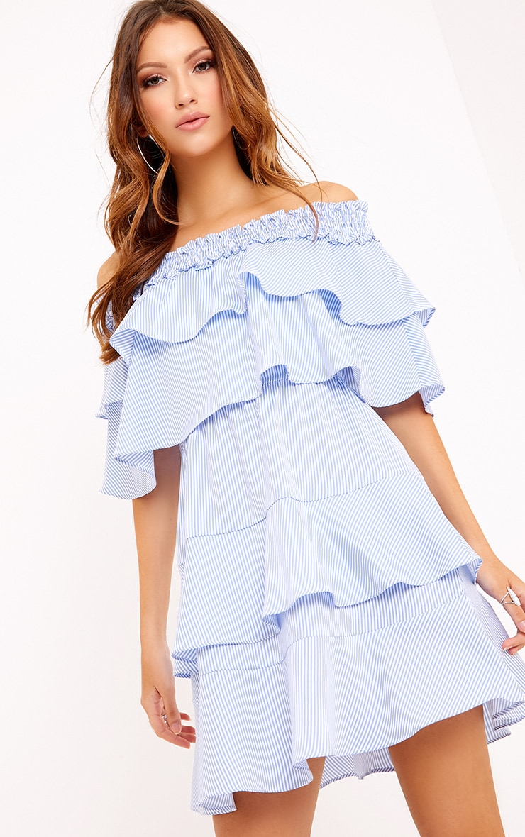 Honourr Striped Bardot Frill Detail Shift Dress Blue 1