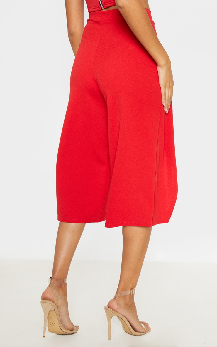 Red Crepe Wrap Detail Culotte 4