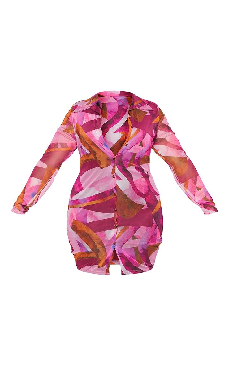 Plus Pink Abstract Mesh Button Down Shirt Dress 5