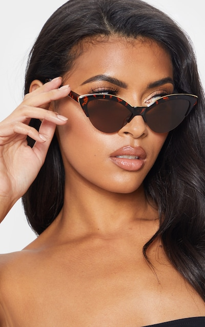 34bbfee7c2b17 Brown Tortoiseshell Gold Metal Edge Pointed Cat Eye Sunglasses