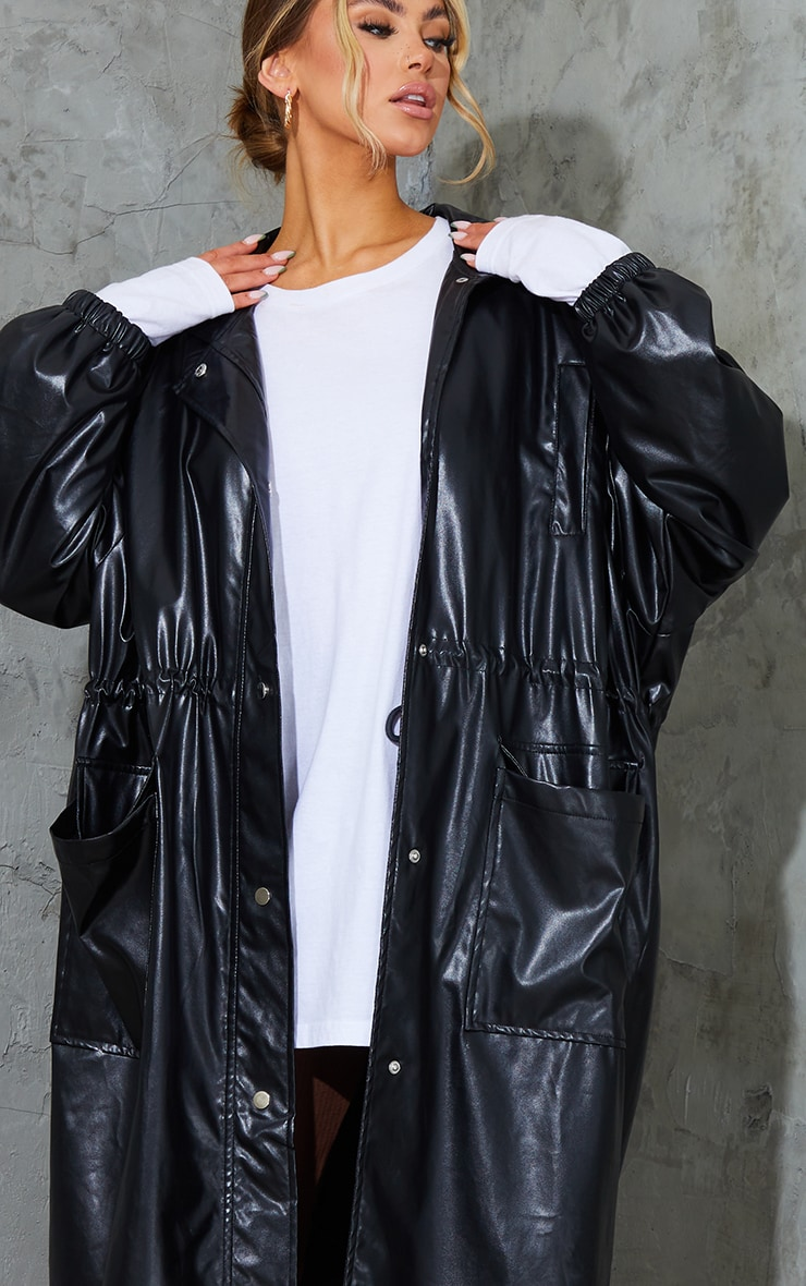 Black Faux Leather Balloon Sleeve Oversized Trench 4